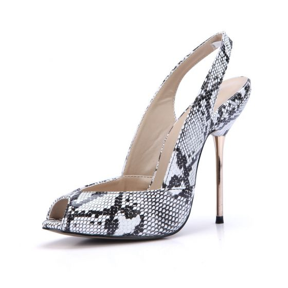 Mooie / Prachtige Witte Straatkleding Slingbacks Slangenprint Sandalen Dames 2020 11 cm Naaldhakken / Stiletto Peep Toe Sandalen