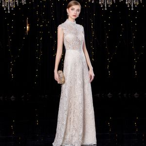 Sparkly Champagne Evening Dresses  2020 A-Line / Princess High Neck Sequins Lace Flower Sleeveless Floor-Length / Long Formal Dresses