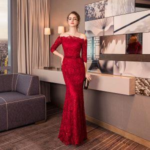 Charming Burgundy Evening Dresses  2019 Trumpet / Mermaid Off-The-Shoulder Lace Flower Sequins 1/2 Sleeves Backless Bow Floor-Length / Long Formal Dresses