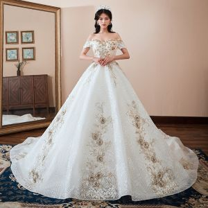 Chic / Beautiful White Wedding Dresses 2018 Ball Gown Off-The-Shoulder Short Sleeve Backless Appliques Lace Rhinestone Cathedral Train Ruffle