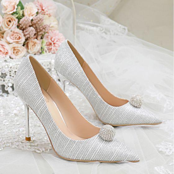 Charmant Zilveren Glans Rhinestone Bruidsschoenen 2020 10 cm Naaldhakken / Stiletto Spitse Neus Huwelijk Pumps