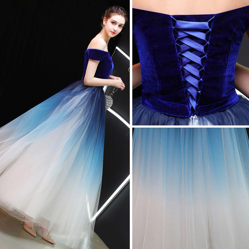 Glamour Bleu Roi Dégradé De Couleur Ivoire Daim Robe De Bal 2019 Princesse De l'épaule Manches Courtes Ceinture Longue Volants Dos Nu Robe De Ceremonie
