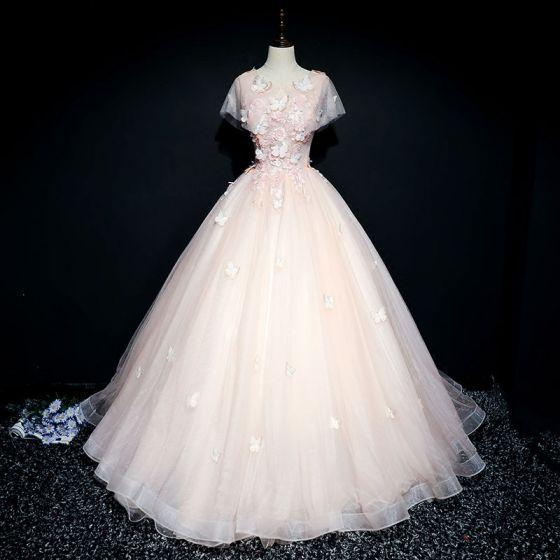 Chic / Belle Perle Rose Robe De Bal 2017 Robe Boule En Dentelle Fleur Fleurs Artificielles Papillon Perle Encolure Dégagée Manches Courtes Longue Robe De Ceremonie