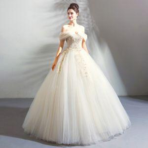 Classique Élégant Blanche Champagne Longue Mariage 2018 Tulle Lacer Appliques Dos Nu Perlage Bustier Robe Boule Robe De Mariée