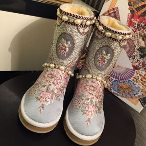 Modern / Fashion Snow Boots 2017 Grey Leather Mid Calf Beading Pearl Embroidered Casual Winter Flat Womens Boots