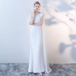 Classic Elegant White Evening Dresses  2018 Trumpet / Mermaid Floor-Length / Long One-Shoulder Tulle Evening Party Backless Formal Dresses