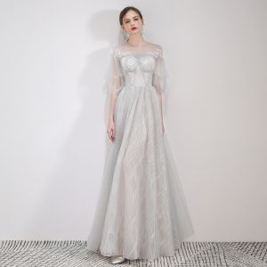 Elegant Grey Evening Dresses  2019 A-Line / Princess Scoop Neck Appliques Lace Flower 1/2 Sleeves Floor-Length / Long Formal Dresses