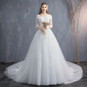Affordable Ivory Wedding Dresses 2019 A-Line / Princess Off-The-Shoulder 1/2 Sleeves Backless Appliques Lace Sequins Beading Chapel Train Ruffle