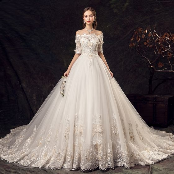 Elegant Ivory Wedding Dresses 2019 A-Line / Princess Off-The-Shoulder Beading Appliques Pearl Lace Flower Short Sleeve Backless Chapel Train