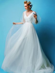 A-ligne Manches Princesse V-cou Tulle Robe De Mariage