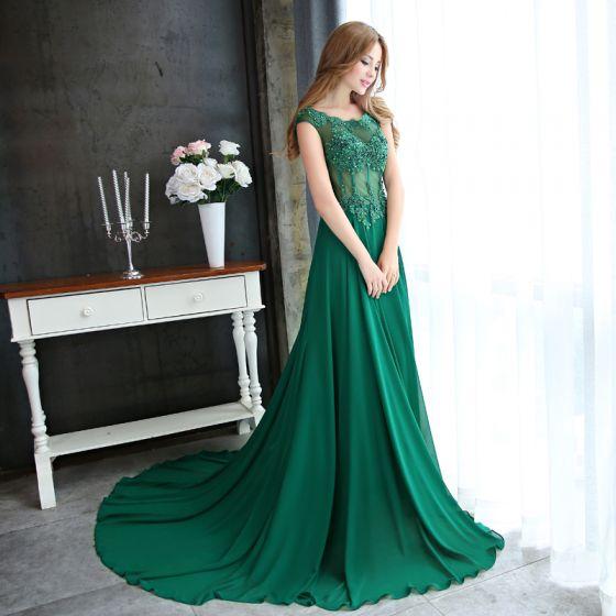 Chic / Beautiful Dark Green Evening Dresses  2017 A-Line / Princess Scoop Neck Sleeveless Appliques Flower Pearl Sequins Beading Chapel Train Ruffle Pierced Backless Formal Dresses