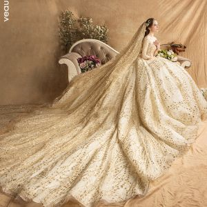 Gold ball wedding dress