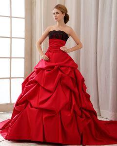 Elegante Rüsche Trägerloses Schnüren Sich Oben Zurück Hofzug Satin Spitze Ballkleid Brautkleid