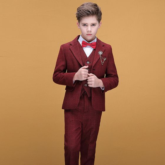 Fashion Burgundy Checked Boys Wedding Suits 2020