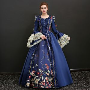 Vintage / Retro Traditional Floor-Length / Long Ball Gown Navy Blue Prom Dresses 2018 Lace-up U-Neck Charmeuse Backless Printing Prom Formal Dresses