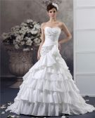 Sweetheart Beading Floor Length Taffeta Ball Gown Wedding Dress