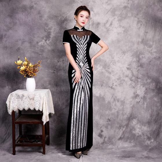 Niedrogie Czarne Cheongsam Sukienki Wieczorowe 2020 Syrena / Rozkloszowane Przezroczyste Wysokiej Szyi Kótkie Rękawy Cekiny Długie Sukienki Wizytowe