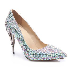 Chic / Beautiful Multi-Colors Rhinestone Wedding Shoes 2020 Leather 10 cm Stiletto Heels Pointed Toe Wedding Pumps