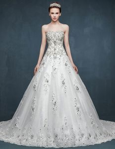 2015 Bridal Trailing Inlaid Diamonds Romantic Wedding Dress