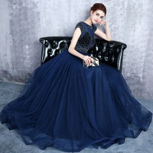 Modern / Fashion Navy Blue Evening Dresses  2017 Sparkly U-Neck Lace Striped Rhinestone Evening Party A-Line / Princess Formal Dresses