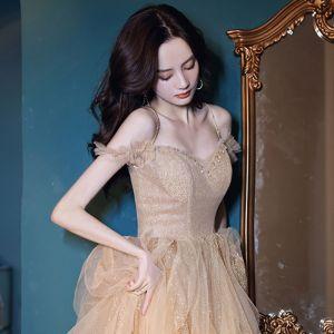 Brillante Champán Bailando Vestidos de gala 2021 A-Line / Princess Spaghetti Straps Manga Corta Rebordear Glitter Tul Largos Ruffle Sin Espalda Vestidos Formales