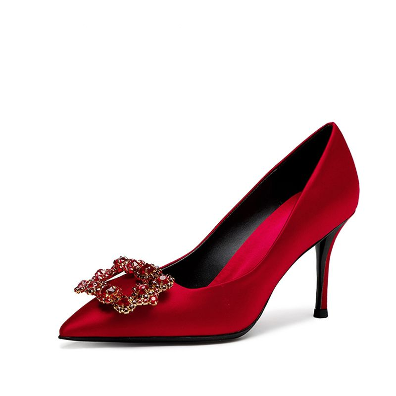 Chic / Beautiful Red Wedding 2018 Satin Leather Beading Rhinestone Crystal Cocktail Party Evening Party Womens Shoes