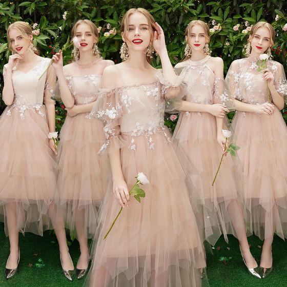 Stylowe / Modne Różowy Perłowy Sukienki Dla Druhen 2019 Princessa Aplikacje Z Koronki Długość Herbaty Kaskadowe Falbany Bez Pleców Sukienki Na Wesele