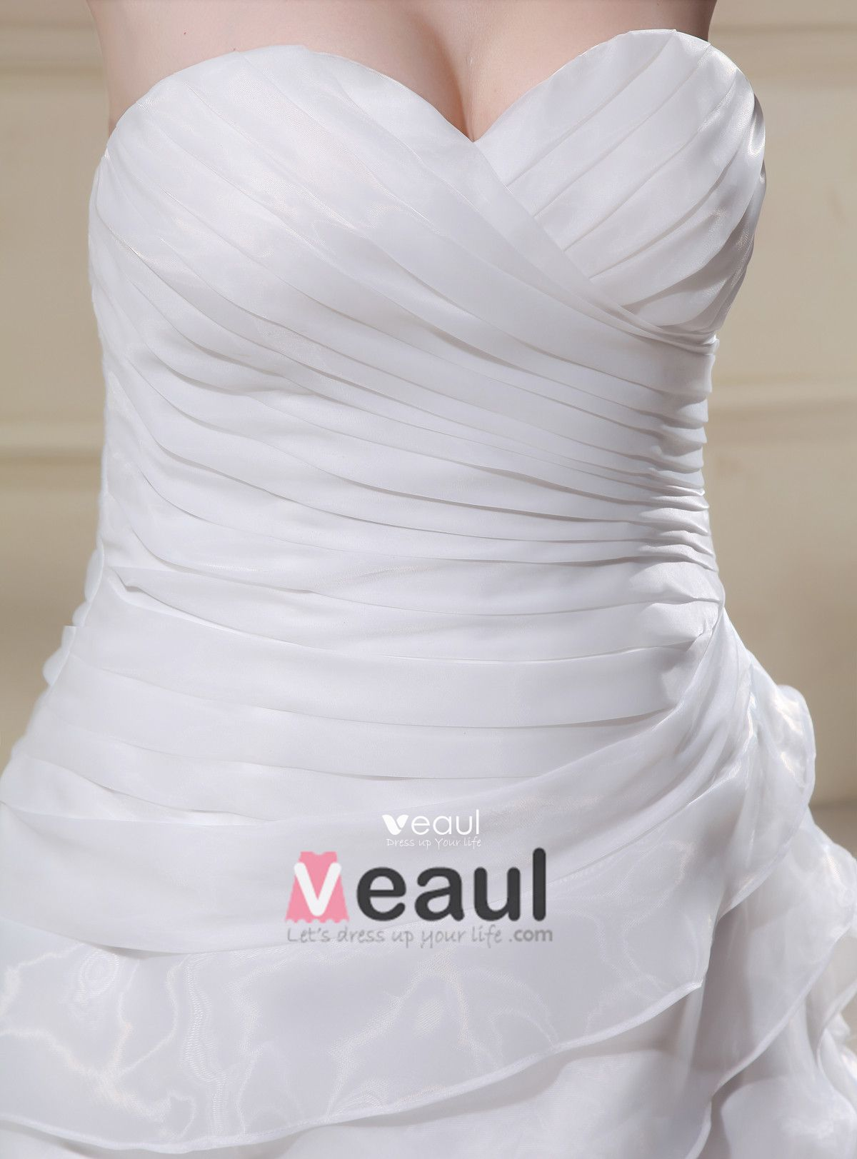 Elegant Chiffon Sweetheart Beading Applique Empire Sweep Plus Size Wedding Dresses
