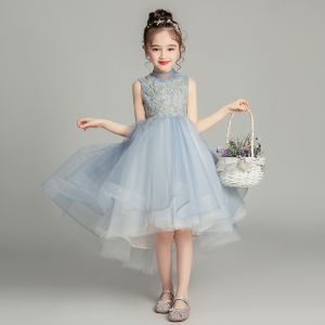 Vintage / Retro Sky Blue Flower Girl Dresses 2019 Ball Gown High Neck Sleeveless Appliques Lace Beading Asymmetrical Ruffle Wedding Party Dresses