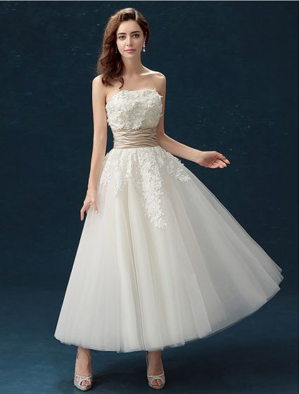 Classic Strapless Applique Lace Flowers Maxi Ivory Wedding Dress