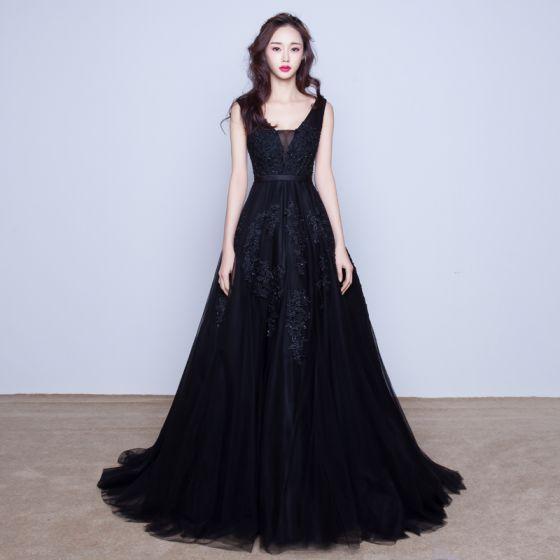7d8141feb17 Chic   Belle Robe De Soirée 2017 Noir Princesse Train De Balayage V-Cou  Sans Manches Dos ...