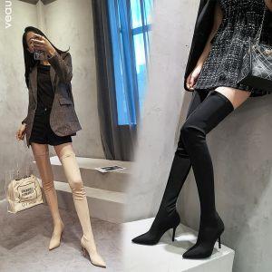 Mode Schwarz Strassenmode Winter Stiefel Damen 2020 9 cm Stilettos Spitzschuh Stiefel