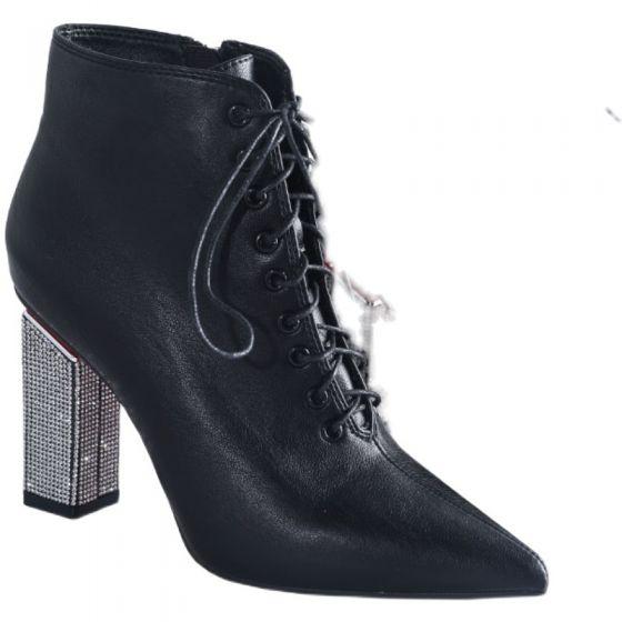 Sjarmerende Vinter Svart Gateklær Ankel Kvinners støvler 2021 Snøre opp 9 cm Rhinestone Tykk Hæler Spisse Boots