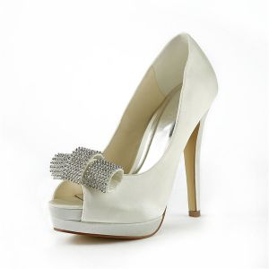 Beautiful Ivory Bridal Shoes Stiletto High Heel Peep Toe Platform Pumps