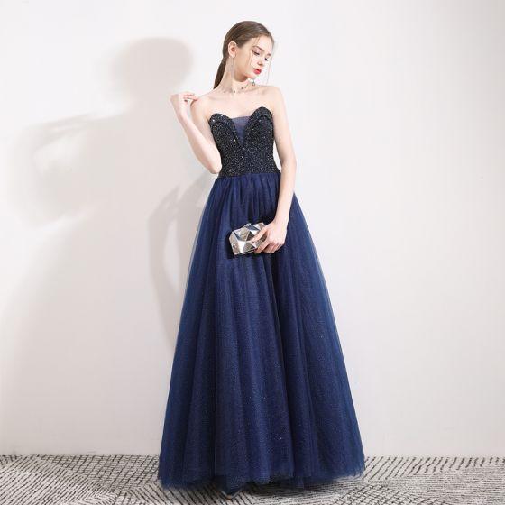 Charmant Bleu Marine Glitter Robe De Bal 2019 Princesse Bustier Cristal Sans Manches Dos Nu Longue Robe De Ceremonie
