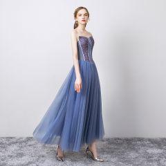 Chic / Beautiful Ocean Blue Evening Dresses  2019 A-Line / Princess Strapless Sleeveless Sequins Backless Floor-Length / Long Formal Dresses