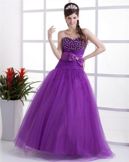 Yarn Satin Beading Ruffle Sweetheart Floor Length Quinceanera Prom Dress