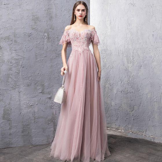 Elegante Rosa Abendkleider 2019 A Linie Off Shoulder Kurze Ärmel Perlenstickerei Strass Lange Rüschen Rückenfreies Festliche Kleider