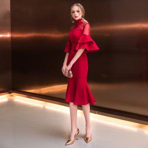 Chinesischer Stil Burgunderrot Durchsichtige Abendkleider 2018 Meerjungfrau Stehkragen 1/2 Ärmel Perlenstickerei Wadenlang Rüschen Festliche Kleider