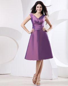 Mantel V-ausschnitt Mini Kurz Taft Abendkleider