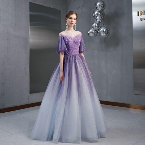 High End Traube Farbverlauf Eckiger Ausschnitt Abendkleider 2020 A Linie Durchsichtige Glockenhülsen Glanz Tülle Perle Perlenstickerei Lange Rüschen Festliche Kleider
