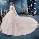 Classy Ivory Wedding Dresses 2019 Ball Gown Square Neckline Sleeveless Backless Cascading Ruffles Royal Train