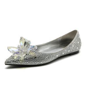 Magnífico Barroca Cenicienta Plata Zapatos De Mujer 2019 Crystal Rhinestone Punta Estrecha Planos