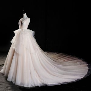 Luxury / Gorgeous Champagne Wedding Dresses 2019 A-Line / Princess V-Neck Glitter Tulle Cascading Ruffles Sleeveless Backless Cathedral Train