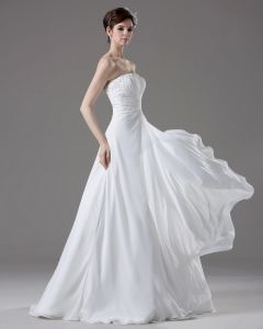 Strapless Beading Pleated Floor Length Chiffon Empire Wedding Dress