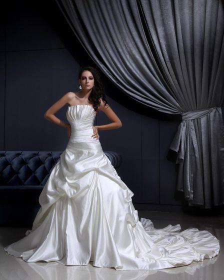 Plissierten Rüschen Gericht Mermaid Brautkleider Hochzeitskleid