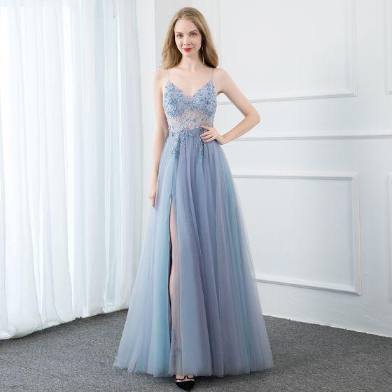 Sexy Azul Cielo Vestidos de gala 2020 A-Line / Princess Spaghetti Straps Rebordear Crystal Lentejuelas Perla Sin Mangas Sin Espalda Delante De Split Largos Vestidos Formales