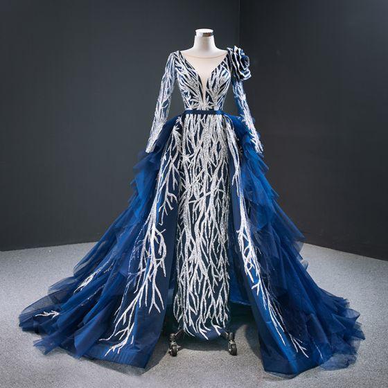 Magnífico Azul Real Alfombra roja Vestidos de noche 2020 A-Line / Princess Transparentes V-cuello Profundo Manga Larga Apliques Lentejuelas Colas De La Corte Volantes En Cascada Sin Espalda Vestidos Formales