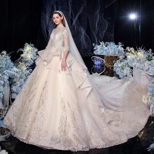 Vintage / Retro Champagne Bridal Wedding Dresses 2020 Ball Gown See-through High Neck 1/2 Sleeves Backless Appliques Lace Beading Sequins Glitter Tulle Cathedral Train Ruffle