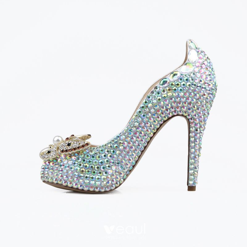 Sparkly Multi-Colors Rhinestone Wedding Shoes 2020 Leather